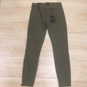 Just Black Green Button Down Skinny Jeans
